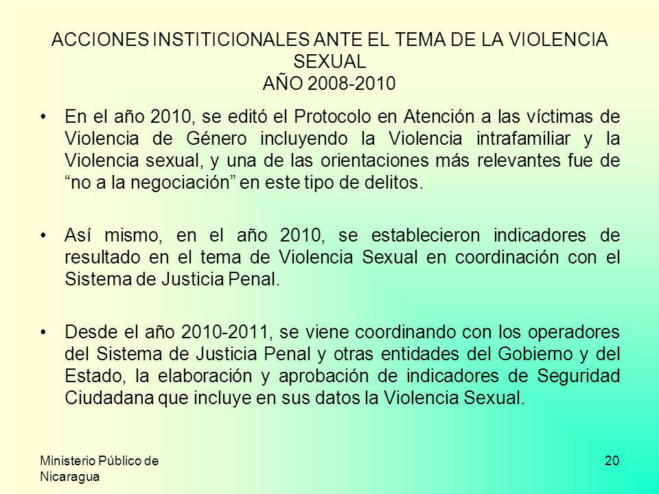 ACCIONES INSTITICIONALES ANTE EL TEMA DE LA VIOLENCIA SEXUAL AÑO 2008-2010