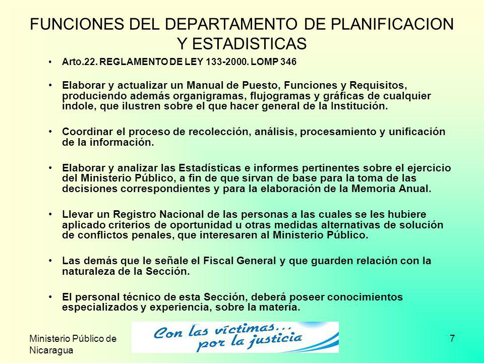 FUNCIONES DEL DEPARTAMENTO DE PLANIFICACION Y ESTADISTICAS