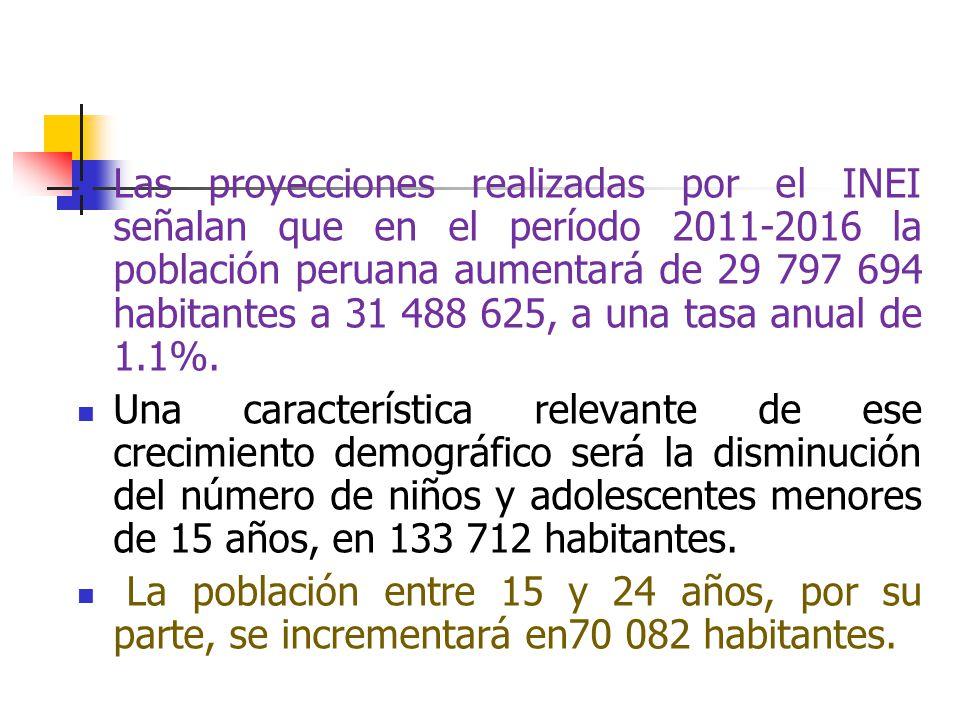 Las proyecciones realizadas por el INEI señalan que en el período 2011-2016 la población peruana aumentará de 29 797 694 habitantes a 31 488 625, a una tasa anual de 1.1%.