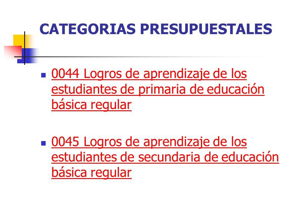 CATEGORIAS PRESUPUESTALES