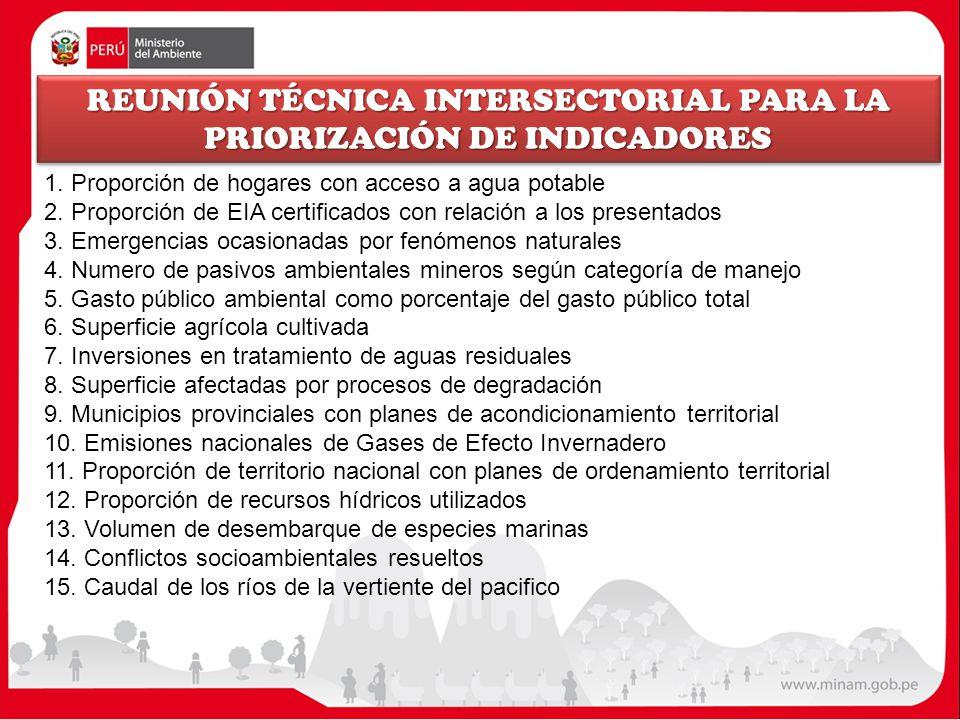 REUNIÓN TÉCNICA INTERSECTORIAL PARA LA PRIORIZACIÓN DE INDICADORES