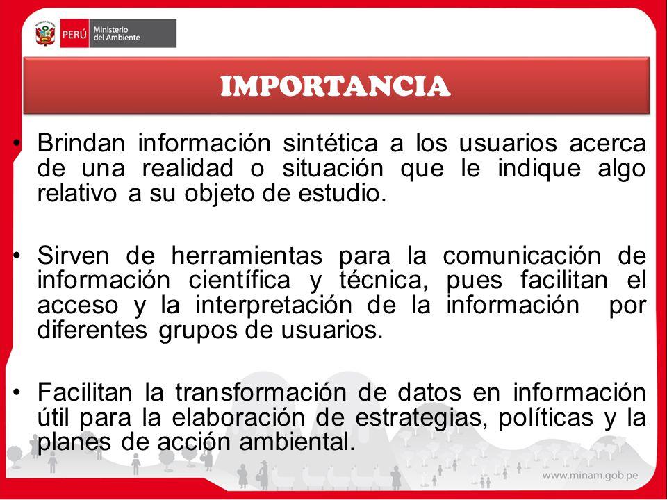 IMPORTANCIA Brindan información sintética a los usuarios acerca de una realidad o situación que le indique algo relativo a su objeto de estudio.