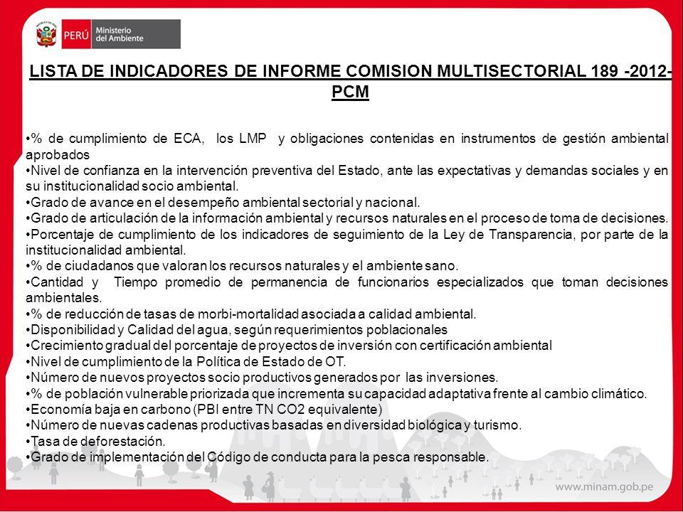 LISTA DE INDICADORES DE INFORME COMISION MULTISECTORIAL 189 -2012- PCM