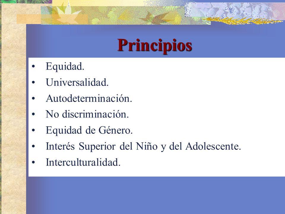 Principios Equidad. Universalidad. Autodeterminación.