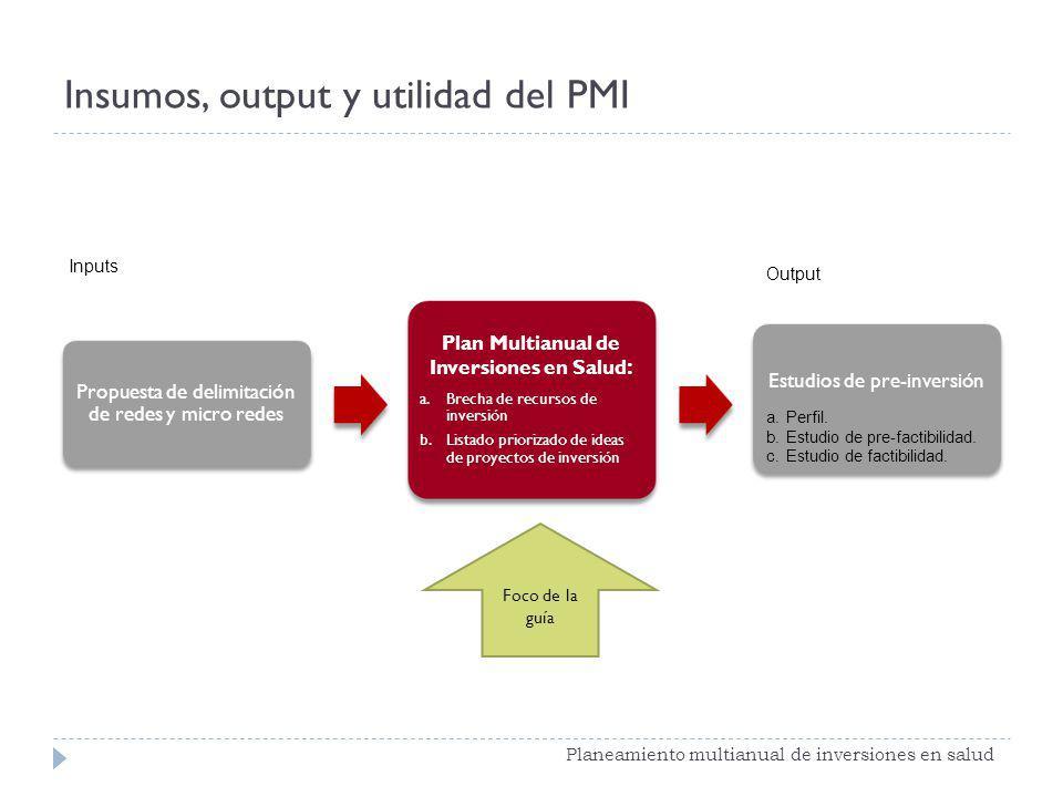 Insumos, output y utilidad del PMI