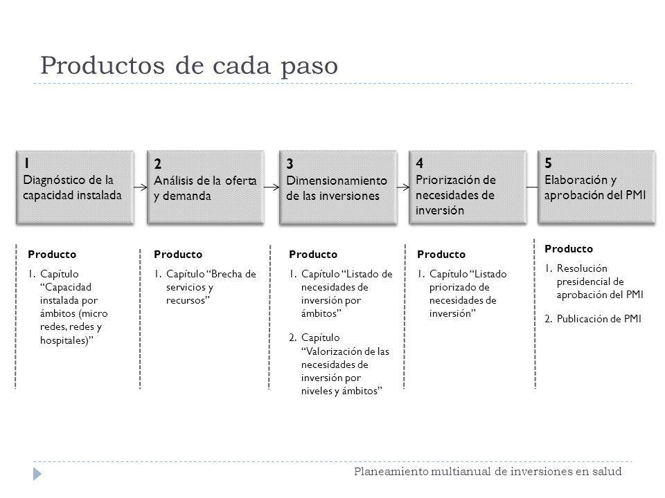 Productos de cada paso 1 2 3 4 5 Diagnóstico de la capacidad instalada