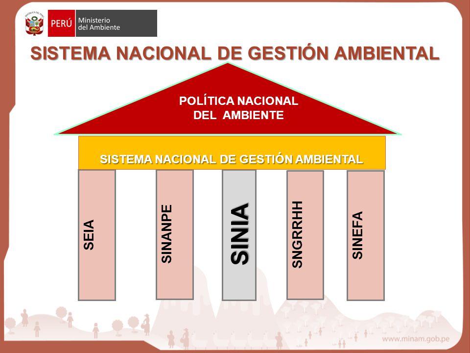 SINIA SISTEMA NACIONAL DE GESTIÓN AMBIENTAL SNGRRHH SINANPE SINEFA