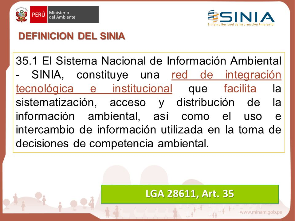 DEFINICION DEL SINIA