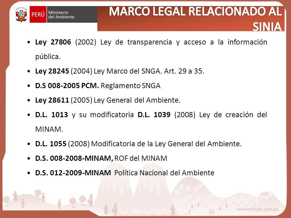 MARCO LEGAL RELACIONADO AL SINIA