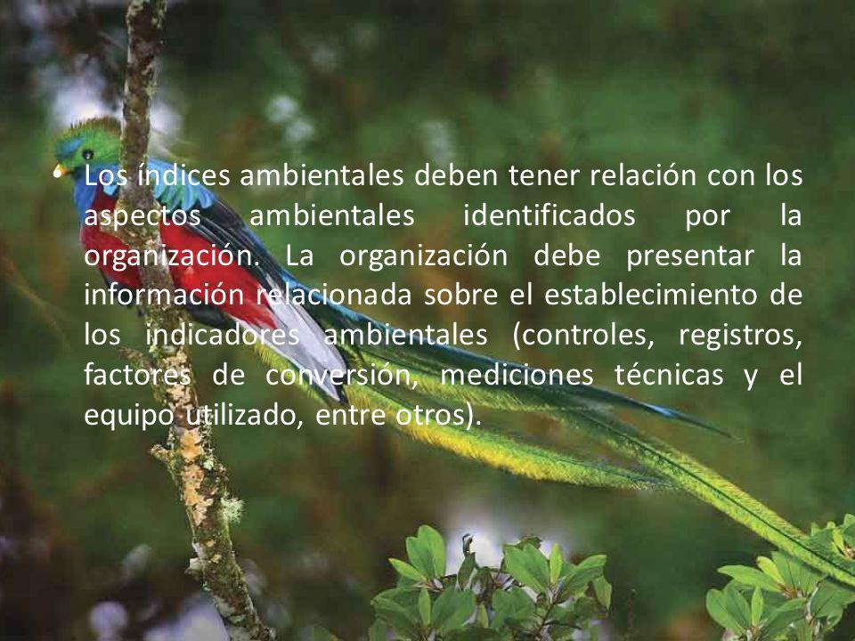 Los índices ambientales deben tener relación con los aspectos ambientales identificados por la organización.