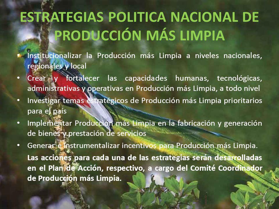 ESTRATEGIAS POLITICA NACIONAL DE PRODUCCIÓN MÁS LIMPIA
