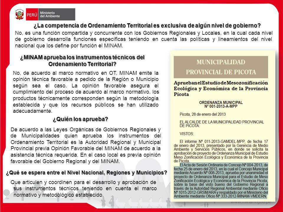 ¿MINAM aprueba los instrumentos técnicos del Ordenamiento Territorial