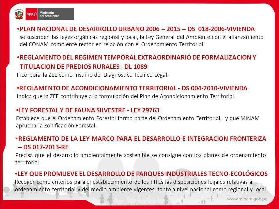 PLAN NACIONAL DE DESARROLLO URBANO 2006 – 2015 – DS 018-2006-VIVIENDA