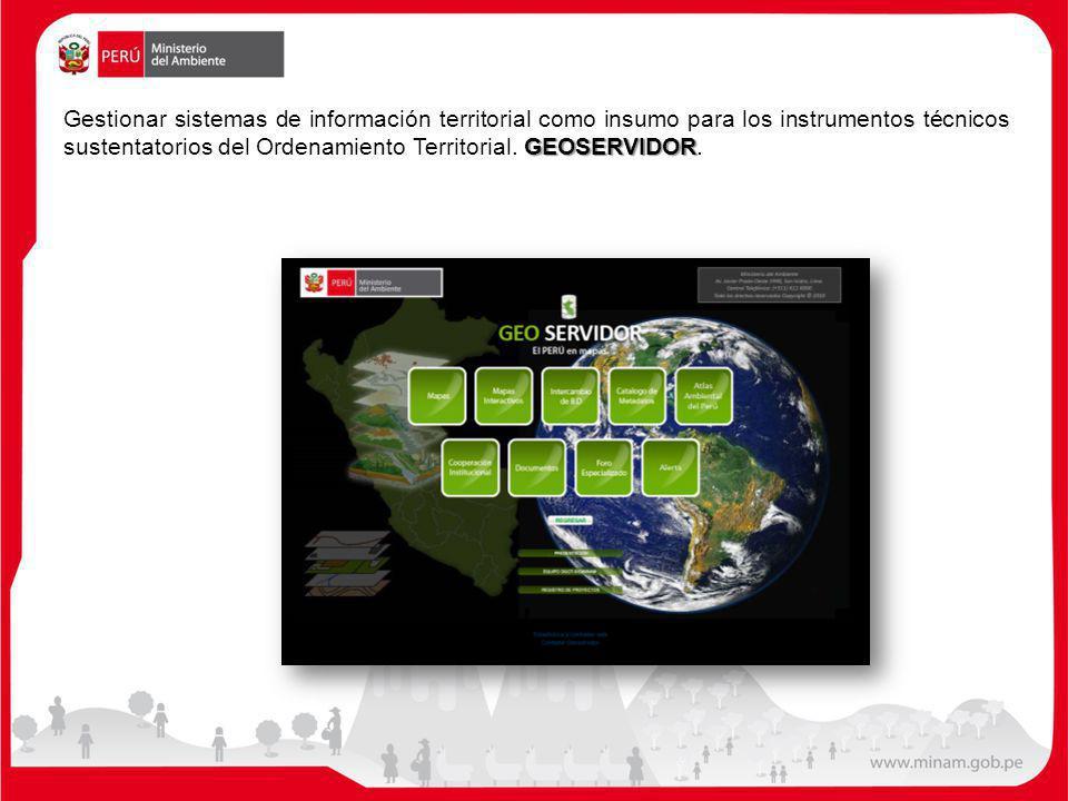 Gestionar sistemas de información territorial como insumo para los instrumentos técnicos sustentatorios del Ordenamiento Territorial.