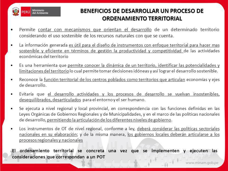 BENEFICIOS DE DESARROLLAR UN PROCESO DE ORDENAMIENTO TERRITORIAL