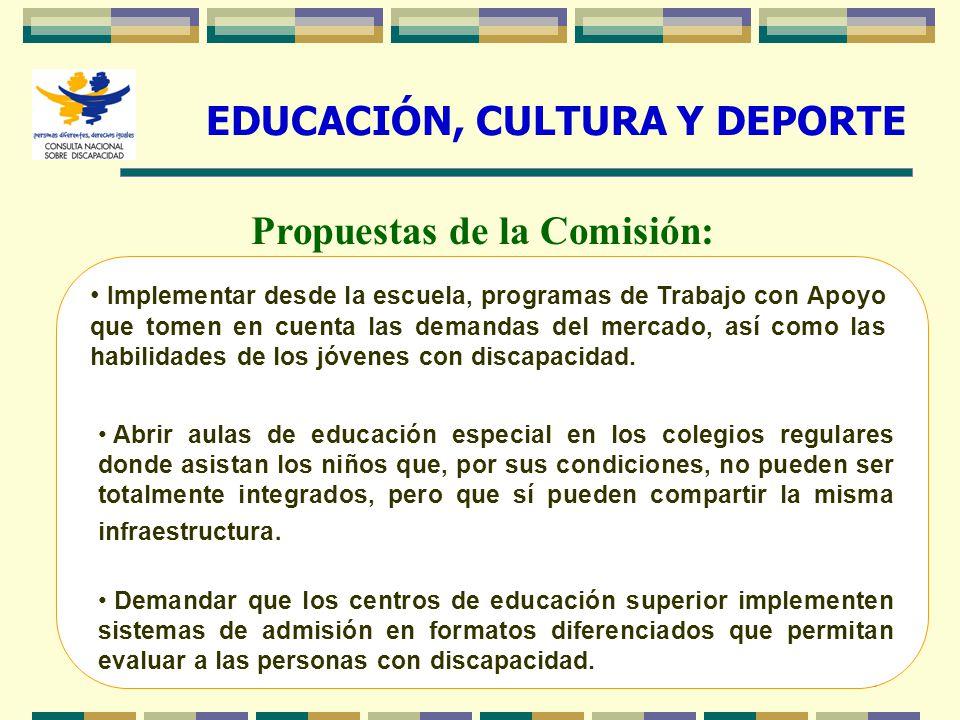 EDUCACIÓN, CULTURA Y DEPORTE Propuestas de la Comisión: