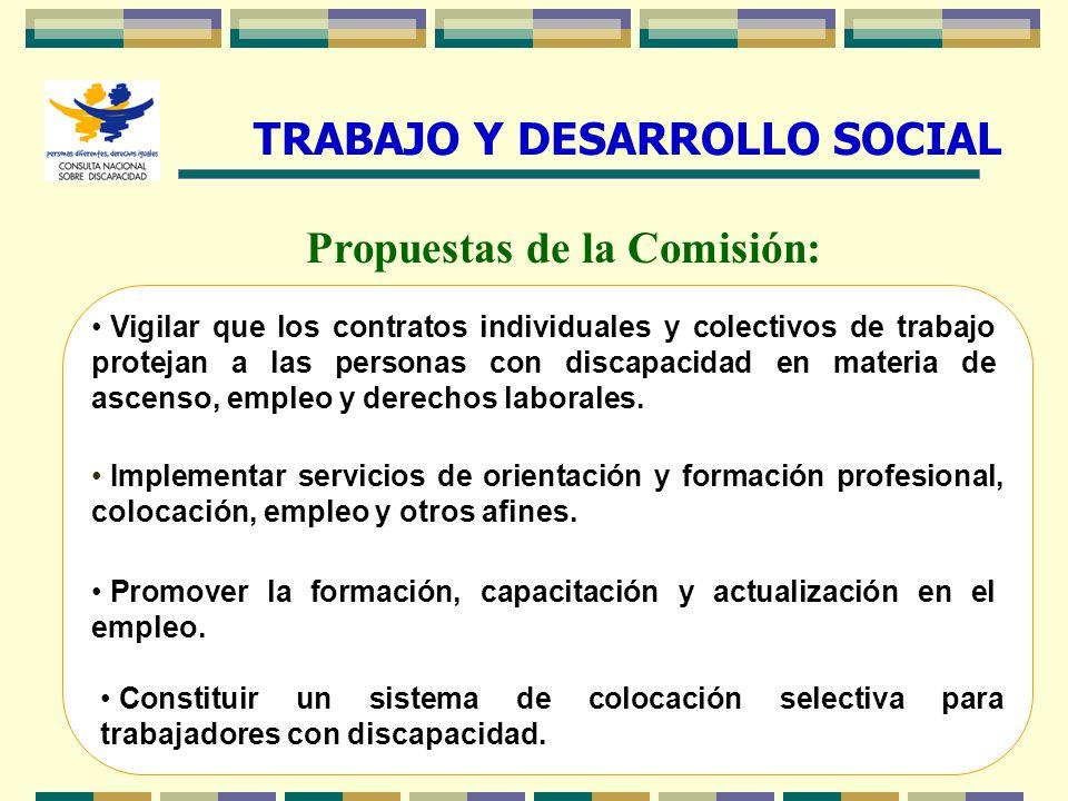 TRABAJO Y DESARROLLO SOCIAL Propuestas de la Comisión: