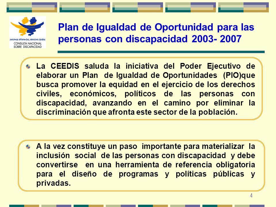 Plan de Igualdad de Oportunidad para las personas con discapacidad 2003- 2007