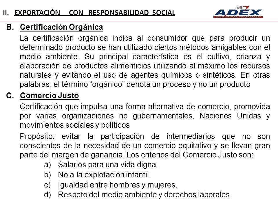 II. EXPORTACIÓN CON RESPONSABILIDAD SOCIAL