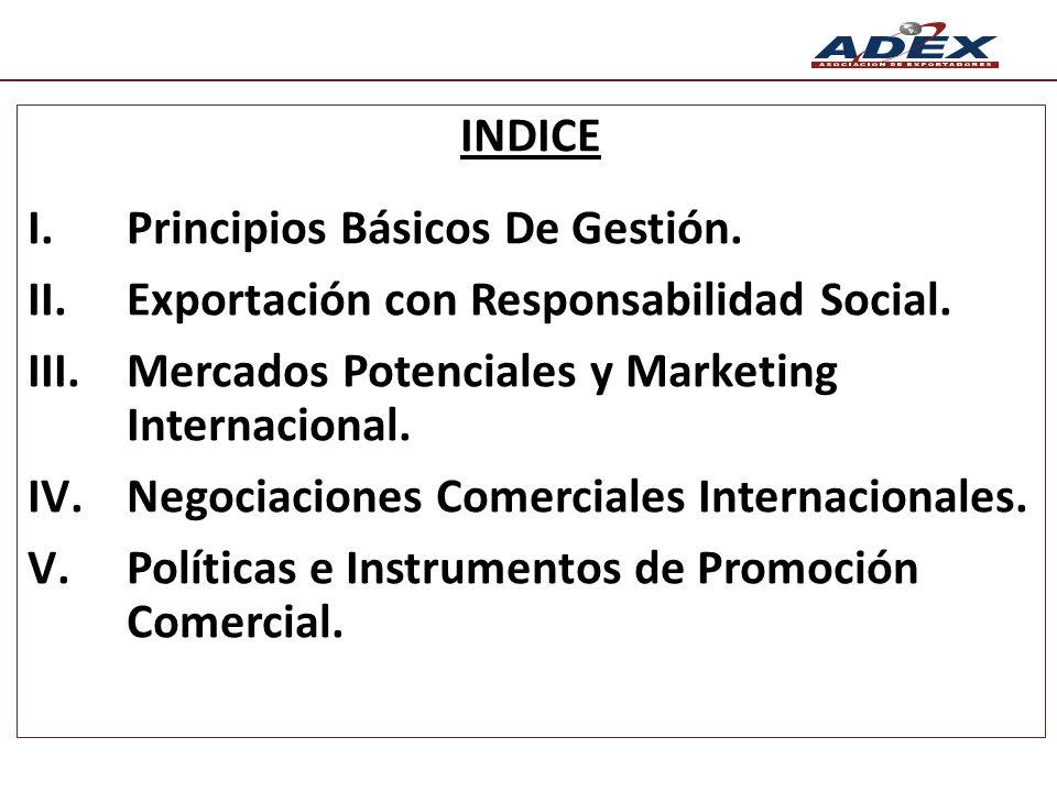 INDICE Principios Básicos De Gestión. Exportación con Responsabilidad Social. Mercados Potenciales y Marketing Internacional.