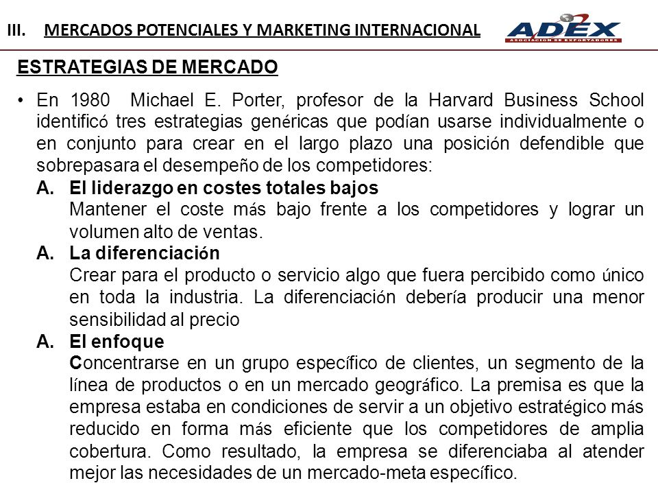MERCADOS POTENCIALES Y MARKETING INTERNACIONAL
