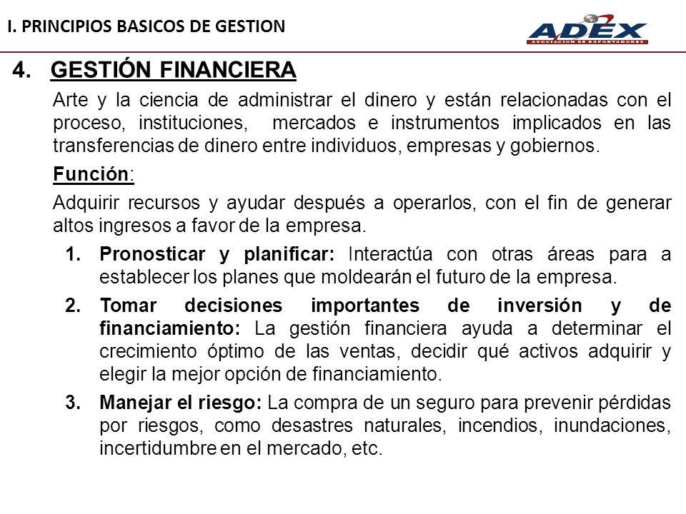 I. PRINCIPIOS BASICOS DE GESTION