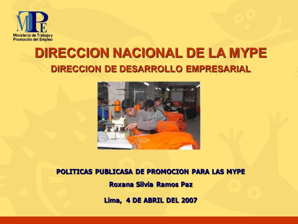DIRECCION NACIONAL DE LA MYPE