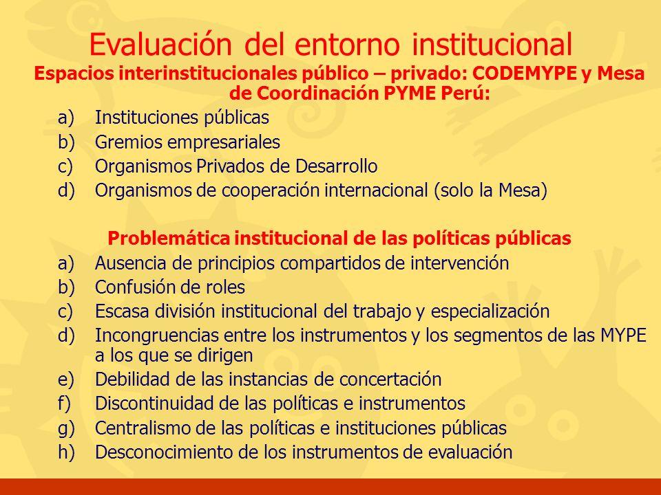 Problemática institucional de las políticas públicas