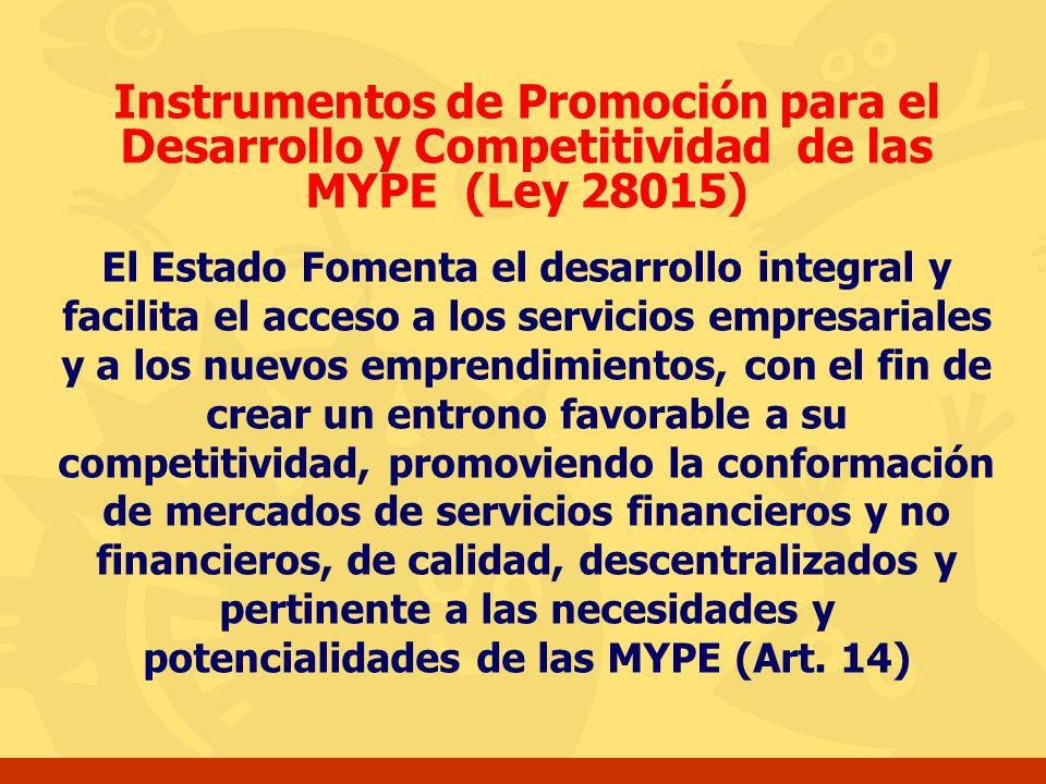 Instrumentos de Promoción para el Desarrollo y Competitividad de las MYPE (Ley 28015)
