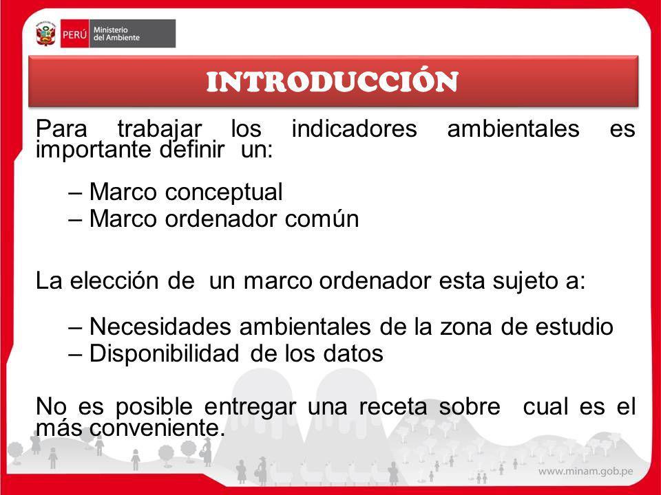 INTRODUCCIÓN Para trabajar los indicadores ambientales es importante definir un: Marco conceptual.