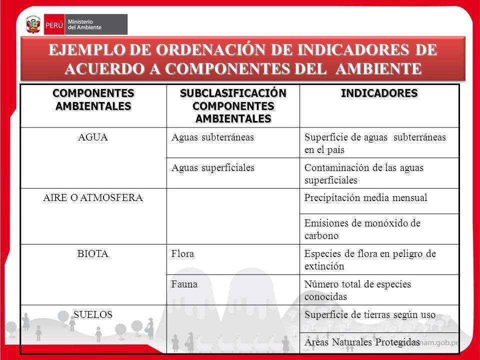 COMPONENTES AMBIENTALES SUBCLASIFICACIÓN COMPONENTES AMBIENTALES