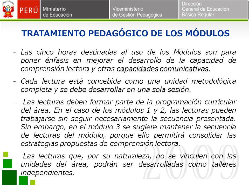 TRATAMIENTO PEDAGÓGICO DE LOS MÓDULOS