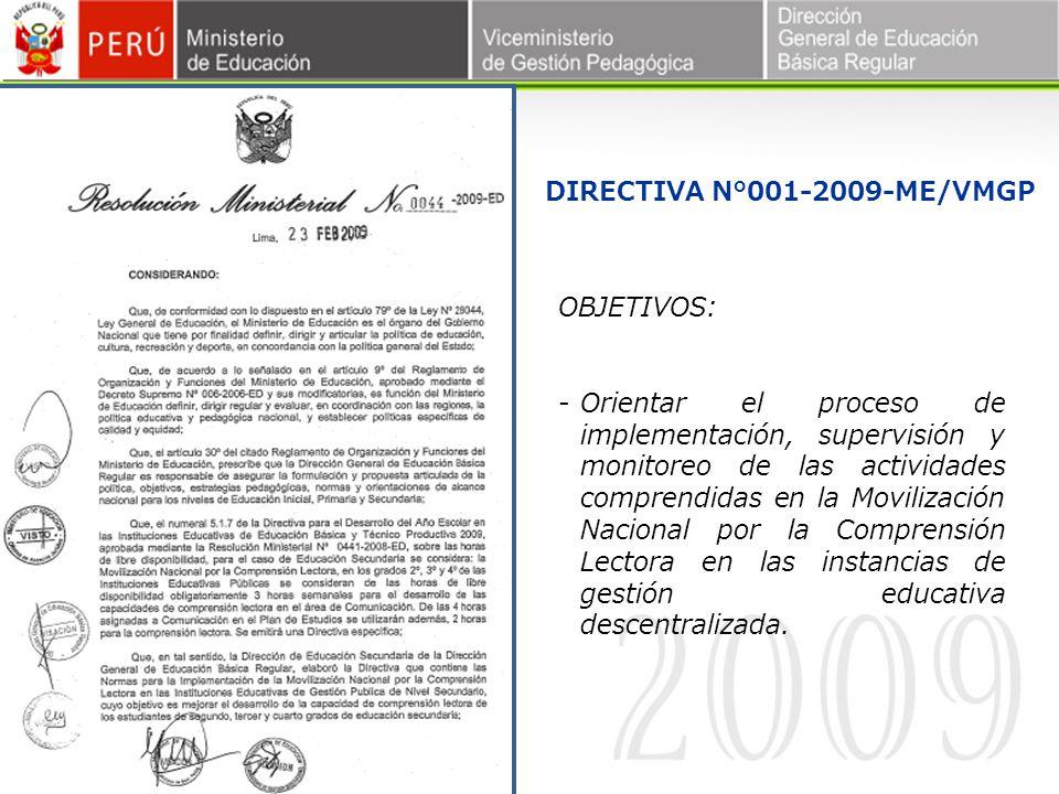 DIRECTIVA N°001-2009-ME/VMGP