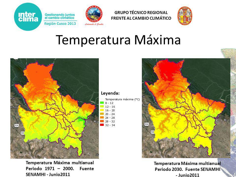 Temperatura Máxima multianual Periodo 2030. Fuente SENAMHI - Junio2011