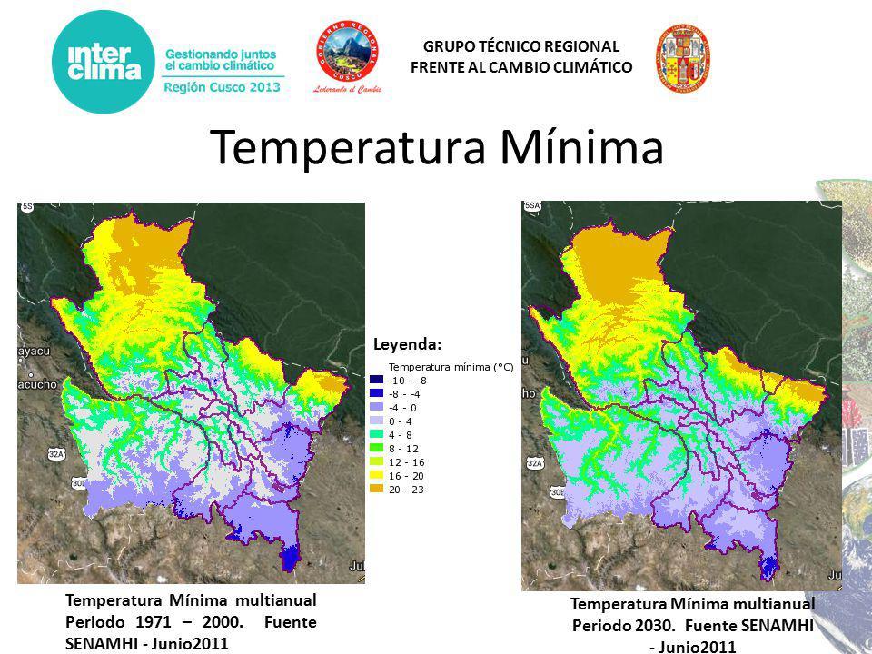 Temperatura Mínima multianual Periodo 2030. Fuente SENAMHI - Junio2011