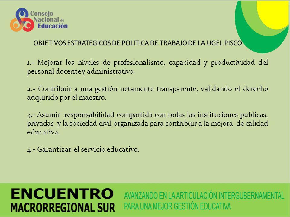 1.- Mejorar los niveles de profesionalismo, capacidad y productividad del personal docente y administrativo.