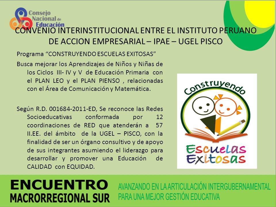 CONVENIO INTERINSTITUCIONAL ENTRE EL INSTITUTO PERUANO DE ACCION EMPRESARIAL – IPAE – UGEL PISCO
