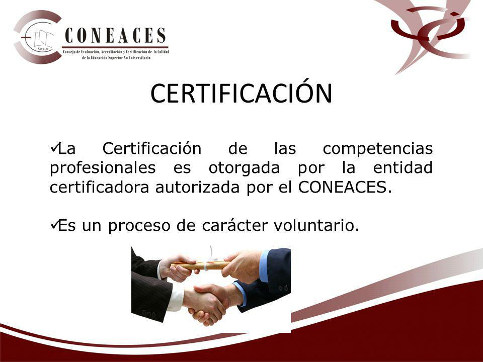 CERTIFICACIÓN La Certificación de las competencias profesionales es otorgada por la entidad certificadora autorizada por el CONEACES.
