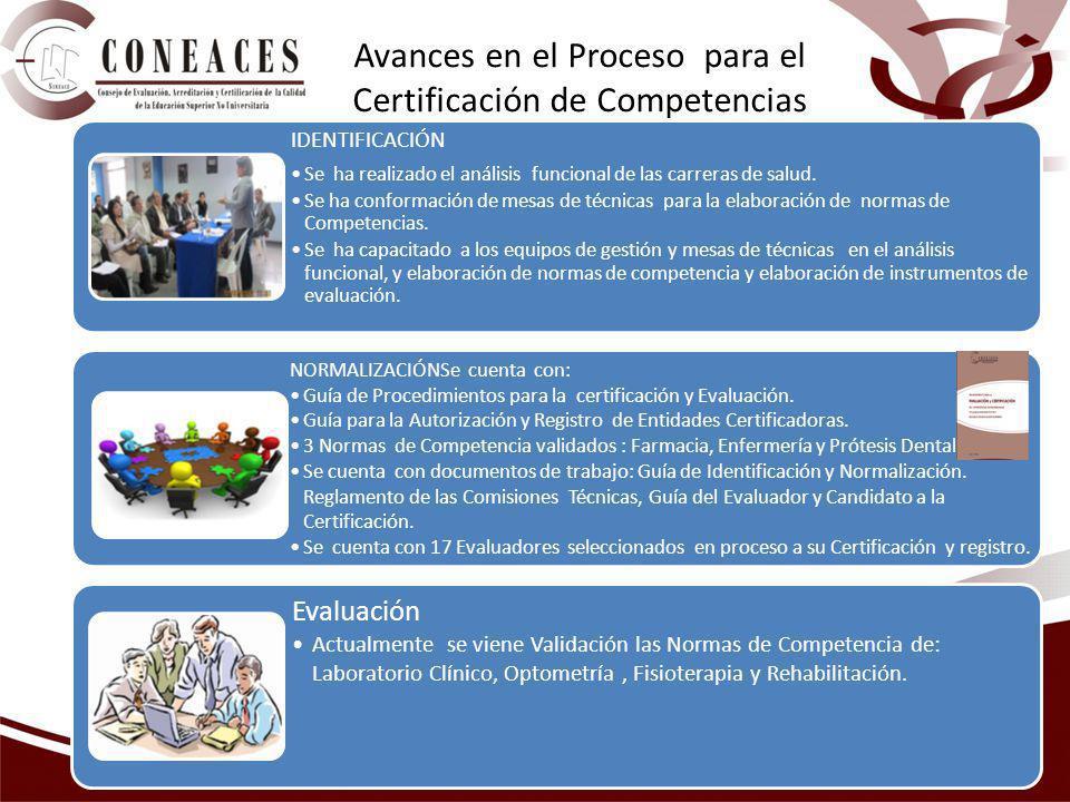 Avances en el Proceso para el Certificación de Competencias