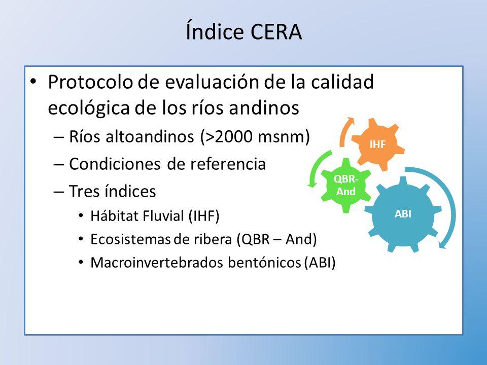 Índice CERA Protocolo de evaluación de la calidad ecológica de los ríos andinos. Ríos altoandinos (>2000 msnm)