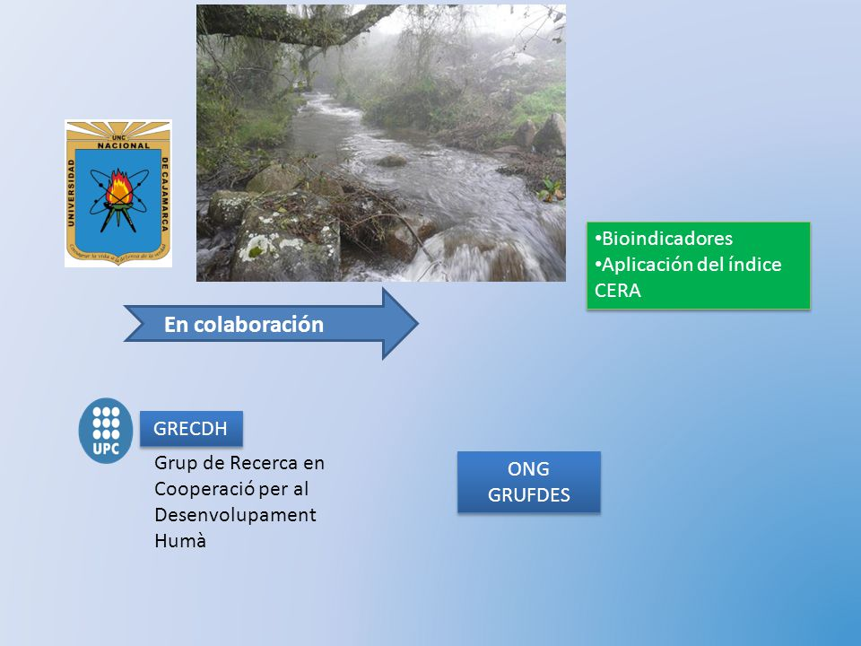 En colaboración Bioindicadores Aplicación del índice CERA GRECDH
