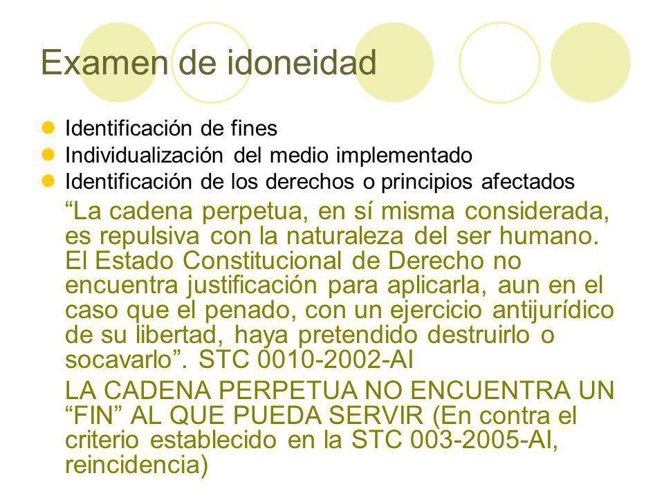 Examen de idoneidad Identificación de fines. Individualización del medio implementado. Identificación de los derechos o principios afectados.