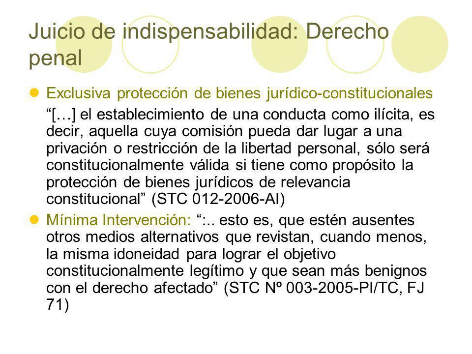 Juicio de indispensabilidad: Derecho penal