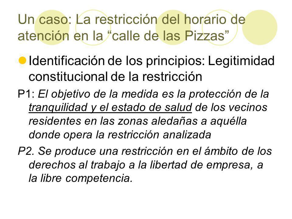 Un caso: La restricción del horario de atención en la calle de las Pizzas