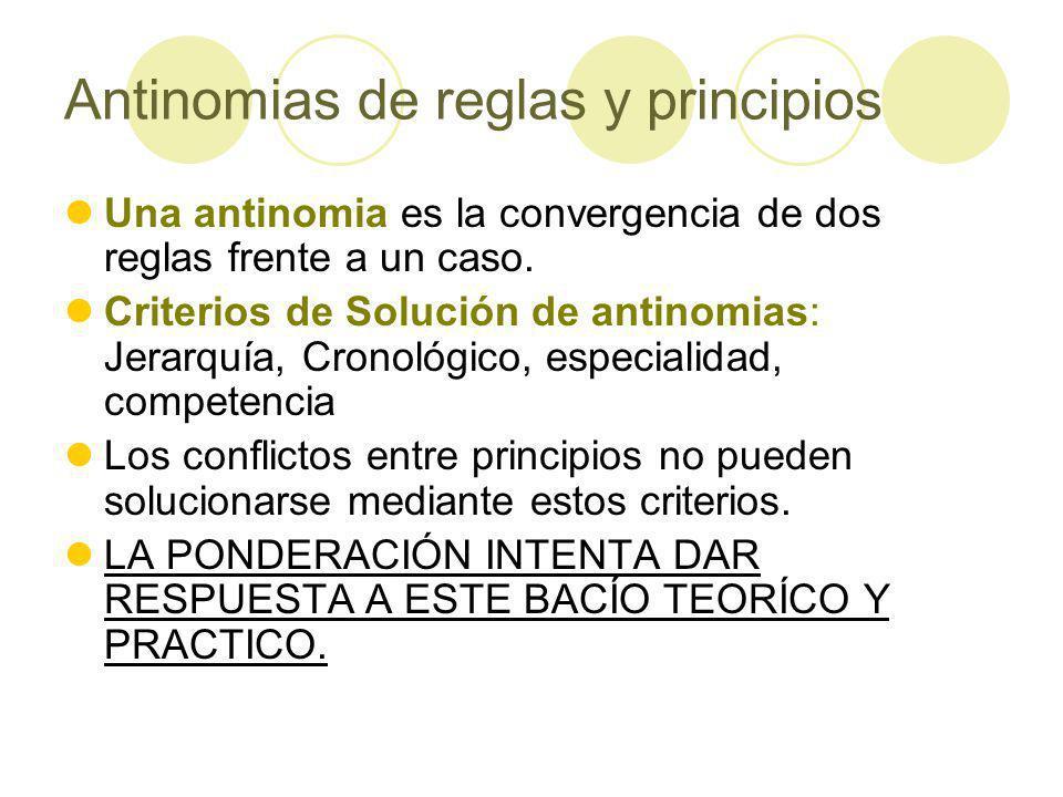 Antinomias de reglas y principios