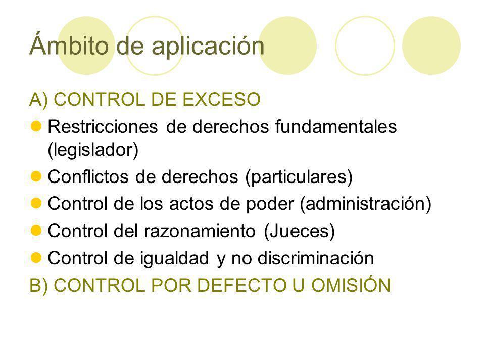Ámbito de aplicación A) CONTROL DE EXCESO