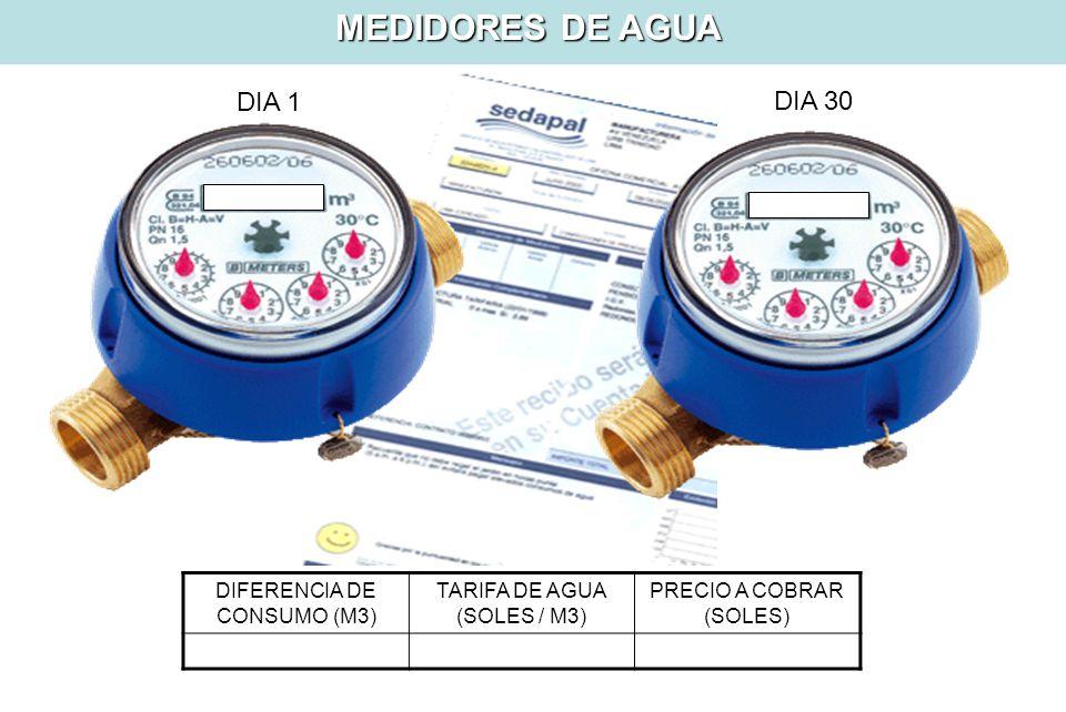 MEDIDORES DE AGUA DIA 1 DIA 30 DIFERENCIA DE CONSUMO (M3)