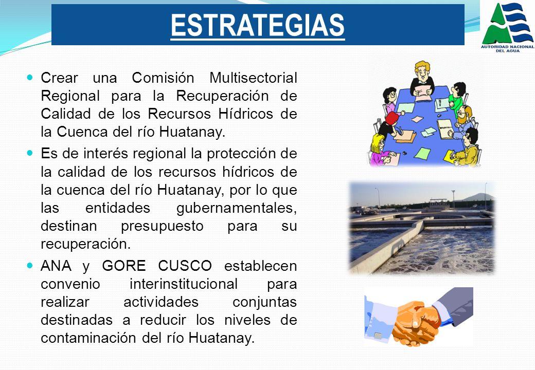 ESTRATEGIAS Crear una Comisión Multisectorial Regional para la Recuperación de Calidad de los Recursos Hídricos de la Cuenca del río Huatanay.
