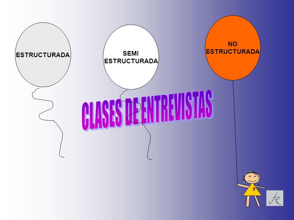 NO ESTRUCTURADA ESTRUCTURADA SEMI ESTRUCTURADA CLASES DE ENTREVISTAS