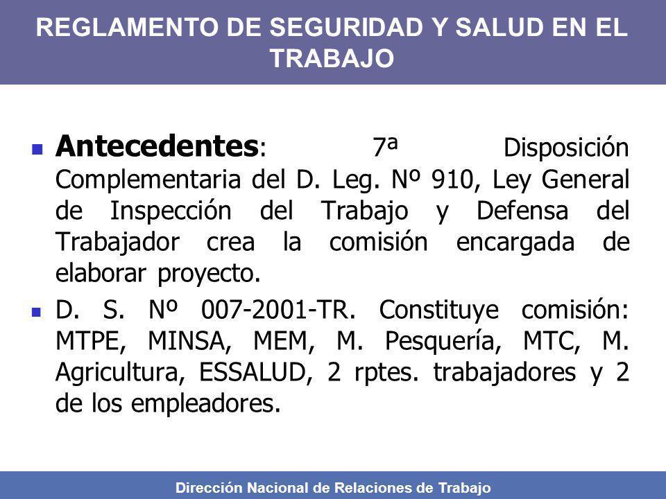 REGLAMENTO DE SEGURIDAD Y SALUD EN EL TRABAJO